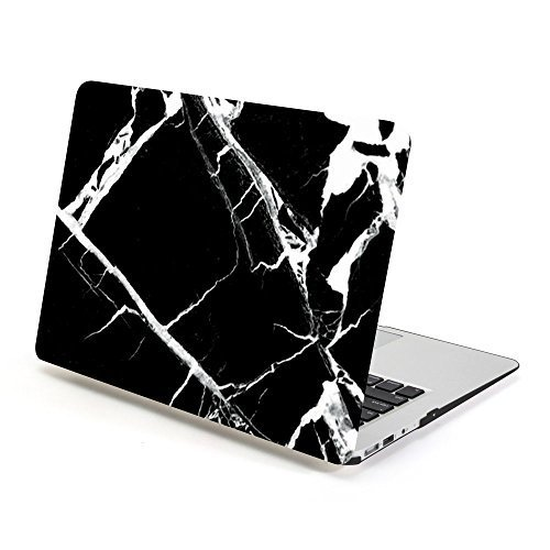 Macbook Air 13 Case, GMYLE Hard Case Print Frosted for MacBook Air 13 inch (Model: A1369 and A1466) - Black Marble Pattern Rubber Coated Hard Shell Cover