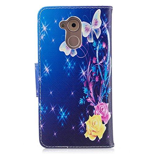 Trumpshop Smartphone Carcasa Funda Protección para Huawei Honor 6C + Lirio + PU Cuero Caja Protector Billetera con Cierre magnético [No compatible con Honor 6A y 6X] Mariposas blancas