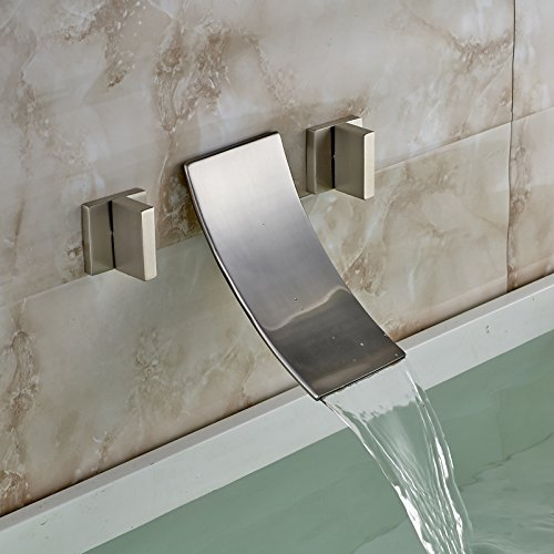 Rozin Brushed Nickel 3pcs Bathtub Faucet 2 Knobs Widespread Waterfall Mixer Tap