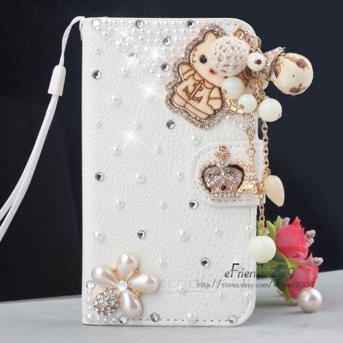 LA GO GO(TM) 3D White Luxury Fashion Handmade Bling Diamond PU Flip Leather Wallet Case Cover for Samsung Galaxy Note 4 (Cartoon Bear)