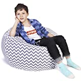 Extra Large Storage Bean Bag | Stuffed Animal Storage | Kids Bean Bag Chair | Stuffed Storage Bag | Perfect Storage Solutions | Creative Solution Kids Gray Wave Stripes - 38""