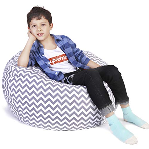 Stuffed Animal Storage Bean Bag Chair, Bean Bag Cover for Organizing Kid's Room - Fits a Lot of Stuffed Animals, Large Size 48, Chevron Gray