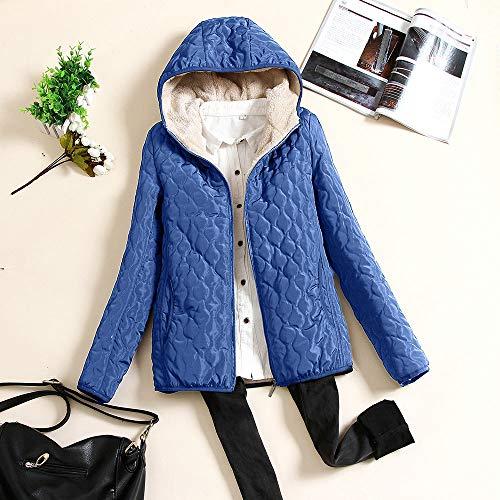 à Manteau bleu capuche longues bleu manches femme à Npradla uni ZRqwUU1