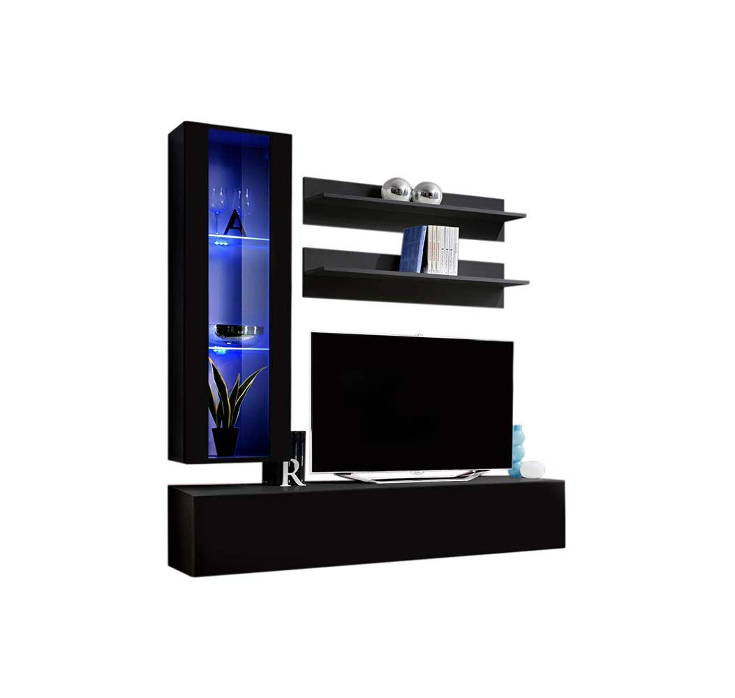 MEBLE FURNITURE & RUGS Wall Mounted Floating Modern Entertainment Center Fly H, Black, H2 by MEBLE FURNITURE & RUGS
