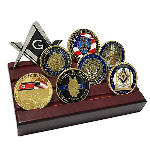 Coin Display Row (4 Rows Military Challenge Coin Display Stand Rack with Metal Base)