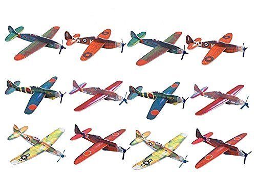Kidsco Flying Glider Planes - Toy For Party, Kids & All Ages - Hand Launch - Easy Assembly - Styrofoam Assorted, 8 Inch (SET OF 24) - By