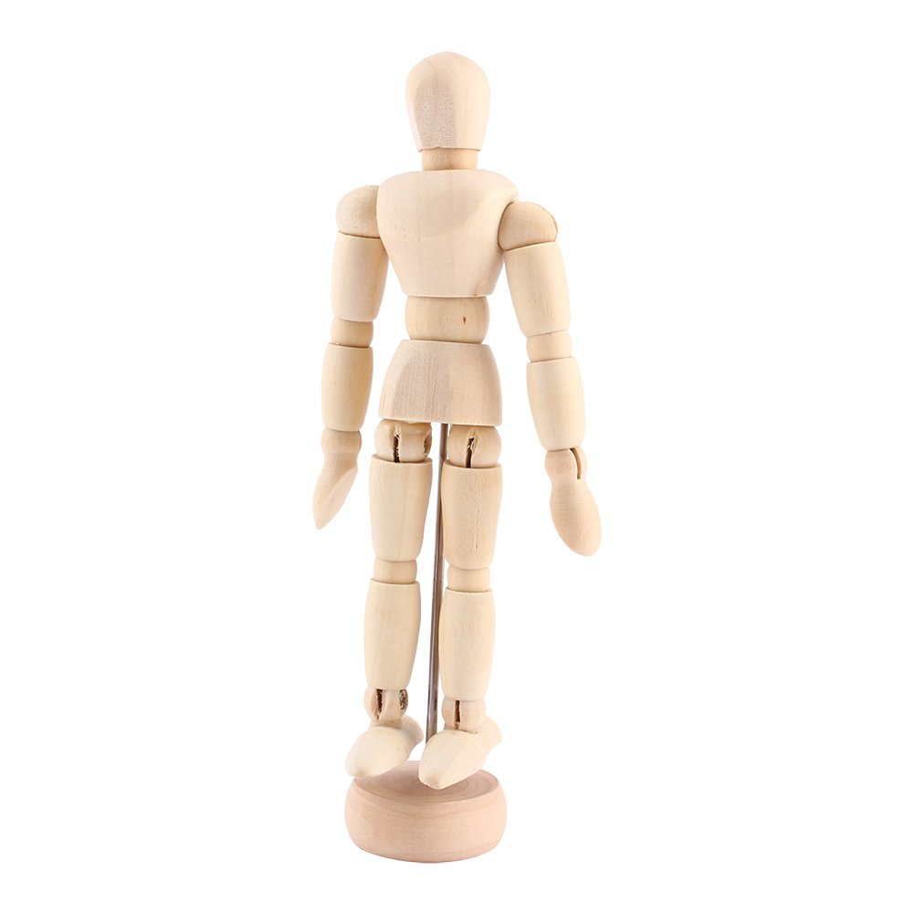 "Yosoo 4.5"" Artist Male Wooden Figure Model with Movable Limbs for Sketching Drawing Aid Mannequin Manikin (4.5"")"