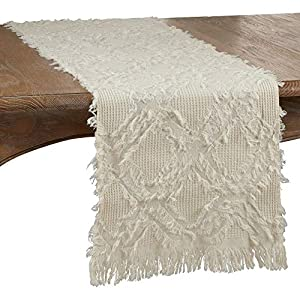 """Fennco Styles Waffle Weave Modern Cotton Rectangular Ivory Table Runner with Fringe – 16""""W x 72""""L Table Cover for Home…"""