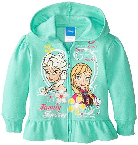 Disney Little Girls' Frozen Anna and Elsa Hoodie, Green, 2T