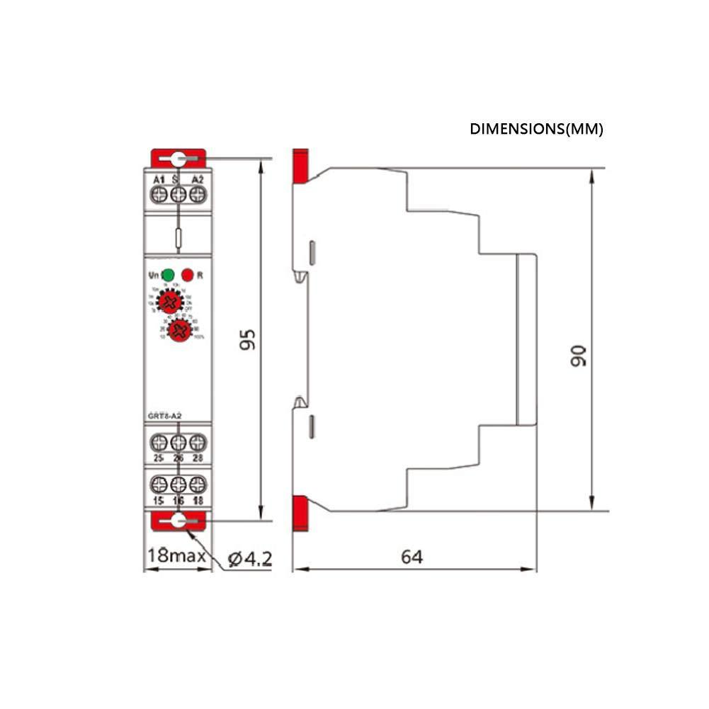 AC//DC 12V ~ 240V DIN-Schienentyp GRT8-A1 Mini Asymmetrische Zykluszeit Einschaltverz/ögerungszeitrelais Verz/ögerungszeitschaltuhr