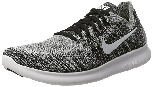 (Nike Womens Free RN Flyknit 2017 Running Shoes Black/Volt/White 880844-003 Size 9)