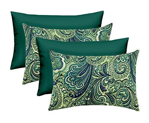(Set of 4 - Indoor/Outdoor Square Decorative Rectangular Lumbar Throw/Toss Pillows - Merona Latte Navy Blue Green Paisley & Choose Color (Hunter Green))