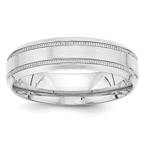 14k White Gold Heavy Comfort Fit Fancy Band