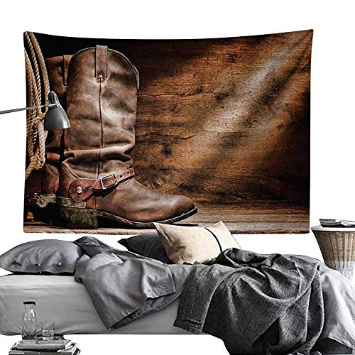 Homrkey Smooth and Smooth Tapestry Western Decor Old Leather Working Roper Boots on Timber Backdrop with Sun Rays Weathered Photo Wall Hanging W80 x L60 Brown