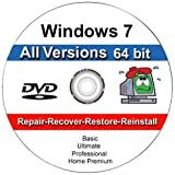 9th & Vine DVDs Compatible With Windows 7 All Versions 64 bit Professional, Home Premium, Ultimate, Basic. Install To Factory Fresh, Recover, Repair and Restore Boot Disc. Fix PC