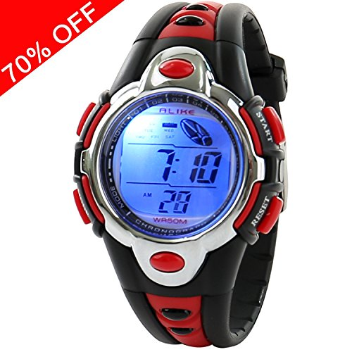 Price comparison product image Kid Watch Multi Function Digital LED Sport 50M Waterproof Electronic Digital Watches for Boy Girl Children Gift Red