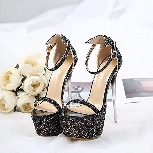 17cm pesce black da serata di piattaforma GTVERNH 37 scarpe a divertente seduzione sandali i tacchi scarpe sexy super la metallo a 15 negozio va bocca bene donna ZnFPRnvw