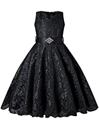Girls Tulle Lace Glitter Vintage Pageant Prom Dresses with Belt