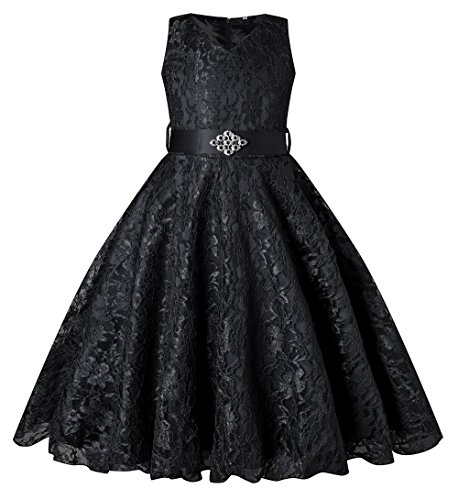 BEAUTY CHARM Girls Tulle Lace Glitter Vintage Pageant Prom Dresses with Belt Black -
