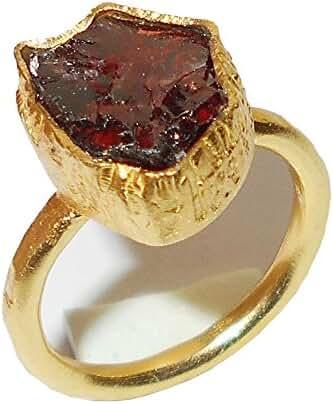 Raw Garnet January Birthstone Fashion Ring