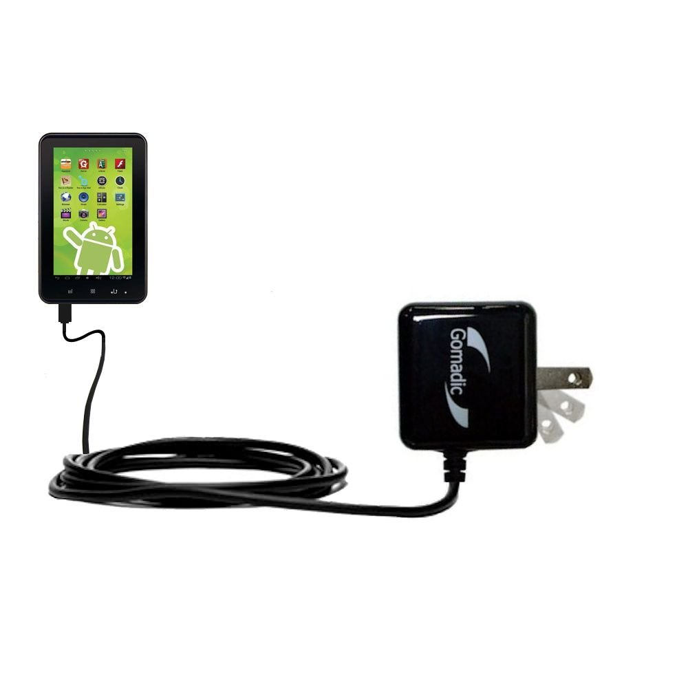 Gomadic Intelligent Compact AC Home Wall Charger suitable for the Zeki 7 Tablet TB782B - High output power with a convenient, foldable plug design - Uses TipExchange Technology
