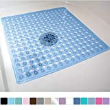Gorilla Grip Original Patented Bath, Shower, Tub Mat, 21x21, Machine Washable, Antibacterial, BPA, Latex, Phthalate Free, Square Bathroom Mats with Drain Holes, Suction Cups, Blue