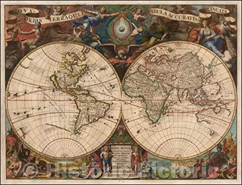 (Historic Map | Nova Orbis Terraquei Tabula Accuratissimi Delineata/Double hemisphere Map of the World, 1713, Pieter van der Aa | Vintage Wall Art 44in x 34in)