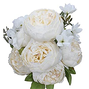 Duovlo Artificial Peony Silk Flowers Fake Flowers Vintage Wedding Home Decoration,Pack of 1 (Spring Milk White) 7