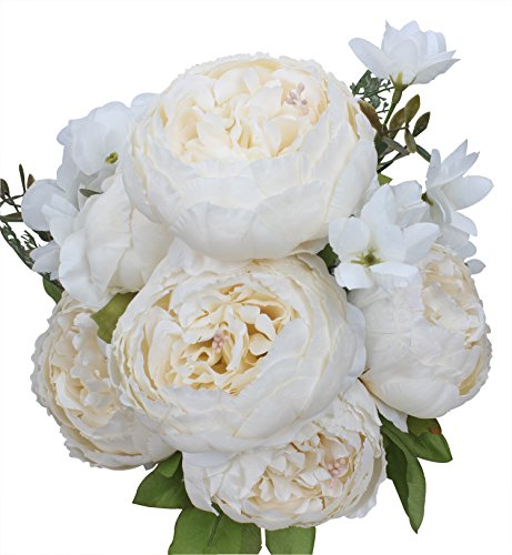 (Duovlo Artificial Peony Silk Flowers Fake Flowers Vintage Wedding Home Decoration,Pack of 1 (Spring Milk White))