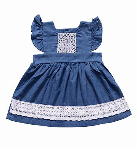 (JELLYKIDS Baby Girl Denim Dress Toddler Girl Lace Ruffle Sleeve Button Dress Outfits Size 12-18 Months (Blue))