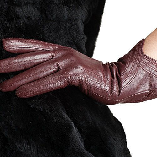 (Nappaglo Nappa Leather Gloves Warm Lining Winter Handmade Curve Imported Leather Lambskin Gloves for Women (M, Wine Red))