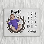 Personalized-Month-Milestone-Baby-Blanket-Pale-Grey-Deer-Antler-Frame-30-X-40-The-Navy-Knot-Plush-Minky-Fleece-Newborn-Girl-Boy-Gifts-Baby-Shower-Monthly-Weekly-Tracker-Photography-Pictures