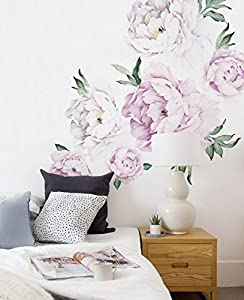 Peony Flowers Wall Sticker   Vintage Lilac   By Simple Shapes