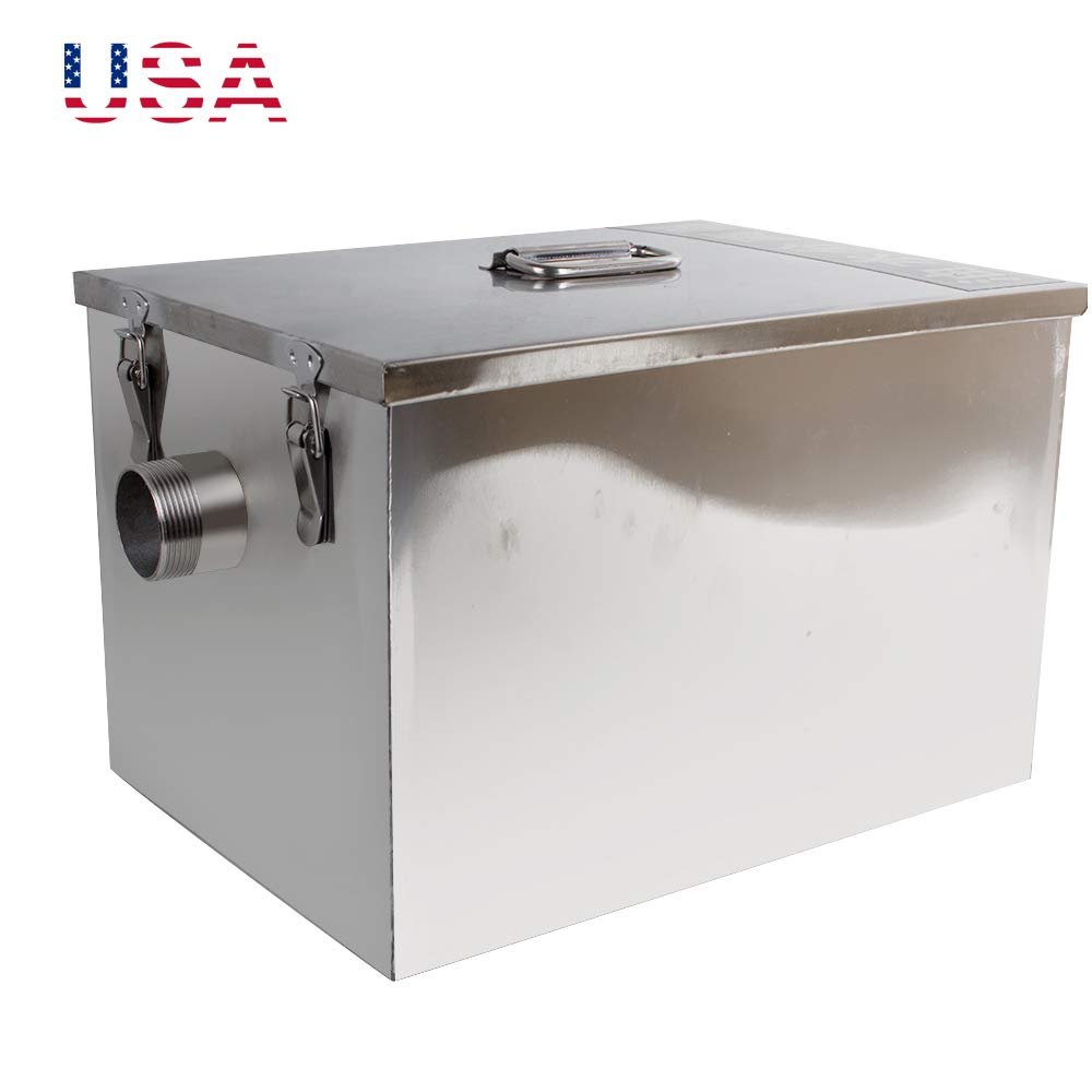 zinnor Commercial Grease Trap Stainless Steel Grease Trap Interceptor for Restaurant Kitchen Wastewater, Removable Baffles, US Shipping