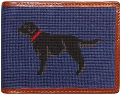 Smathers & Branson Black Lab Needlepoint Wallet, Classic Navy (W-18)