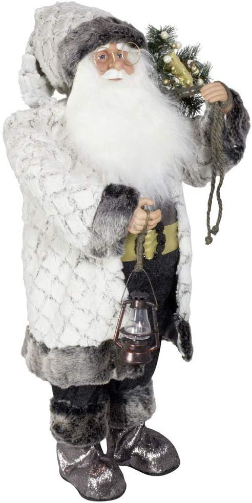 Christmas Paradise Deko Weihnachtsmann Elmar Santa Nikolaus Gr/ö/ße 80cm Wei/ß-Grau
