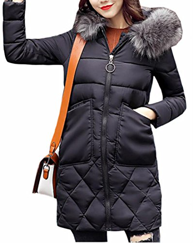 Long UK Down Hot Womens Sleeve Jacket Long Faux Black Puffer Fur Sale Hooded 1wttqU