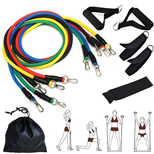 Resistance Band Set for Gym Fitness, CUXUS Exercise Bands, for Upper Body, Lower Body and Core Exercise, Exercise Guide and Storage Bag for Full-body Workout/ Fitness/ Yoga