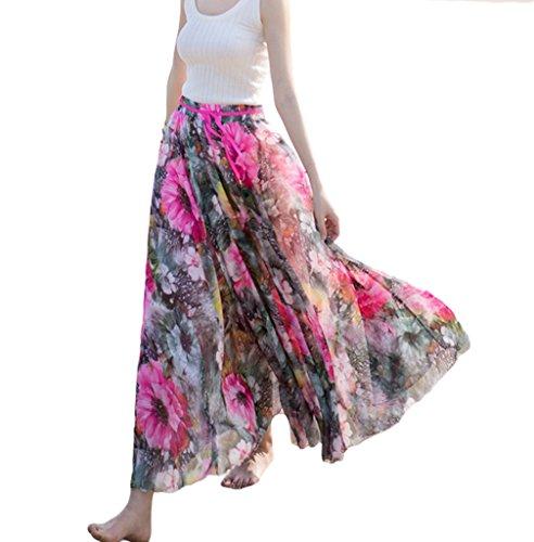Smile YKK Jupe Longue Femme Mousseline de Soie Plage Vacances Imprim Floral Bohme Rose Rouge