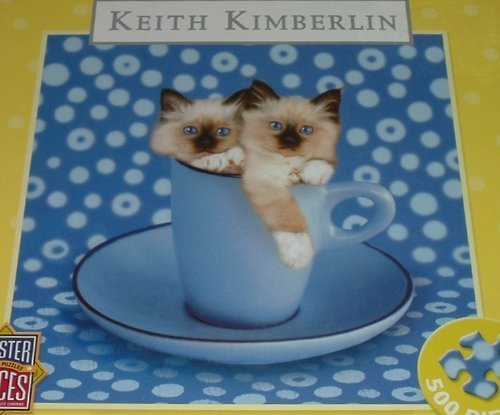 Keith Kimberlin Too Blau Without You Kittens in a Cup Masterpieces 500 Piece Puzzle by MasterPieces