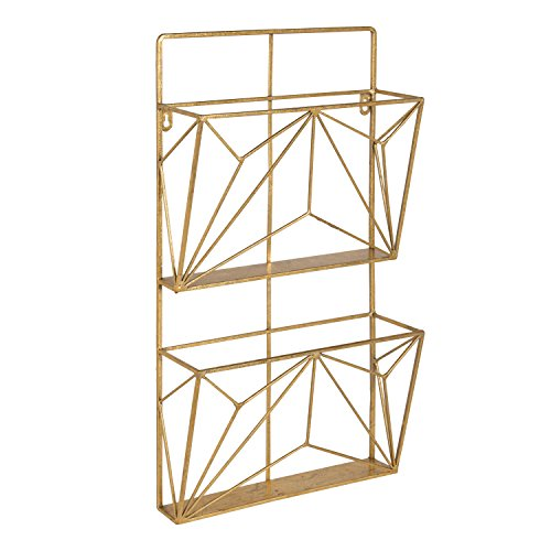 Kate and Laurel Tyde 2 Pocket Metal Hanging Wall File Holder, Gold (File Holder Decorative)