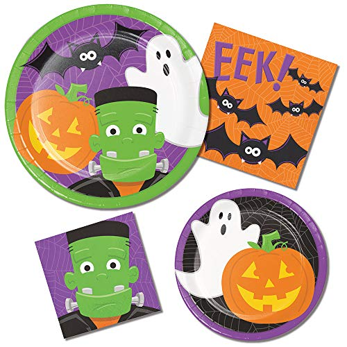 Halloween Party Supply Pack - Friendly Halloween Design: Bundle Includes Paper Plates and Napkins for 8 -