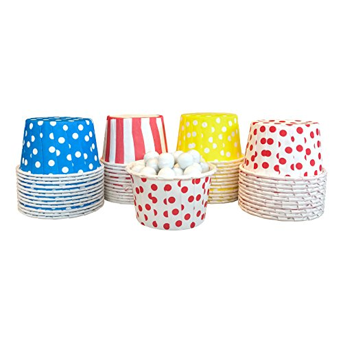 Candy Nut Mini Baking Paper Treat Cups - Circus Theme - Red Blue Yellow Dot and Stripe - 2 x 1.5 Inches - 48 Pack