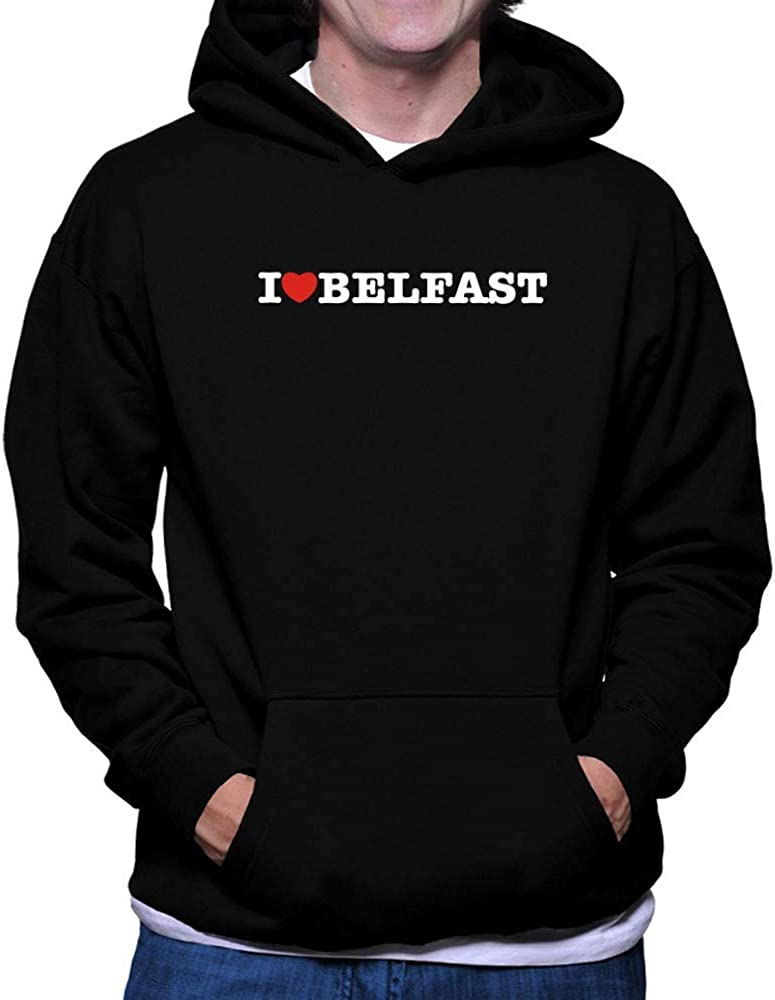 Teeburon I Love Belfast Linear Hoodie