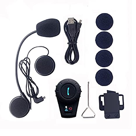 2 Units with soft cable FreedConn Motorcycle Communication System FDCVB Helmet Bluetooth Headset Intercom for Motorbike Skiing Range-800M//2-3Riders Pairing//Black