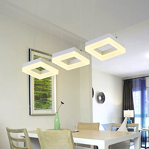 Ythoreosrad Square Fishing Line Chandelier, Acrylic Led Light Source, Stepless Dimming Light, Modern Creative Individuality Restaurant Chandelier,Collection Goods
