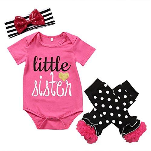 Newborn Baby Girl Little Sister Romper Tops+Headband+Leg Warmers 3Pcs Infant Outfits Set Clothes (0-6M) ()