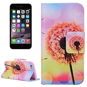 Orange Dandelion Pattern Horizontal Flip Leather Case with Holder & Card Slots & Wallet for iPhone 6 Plus