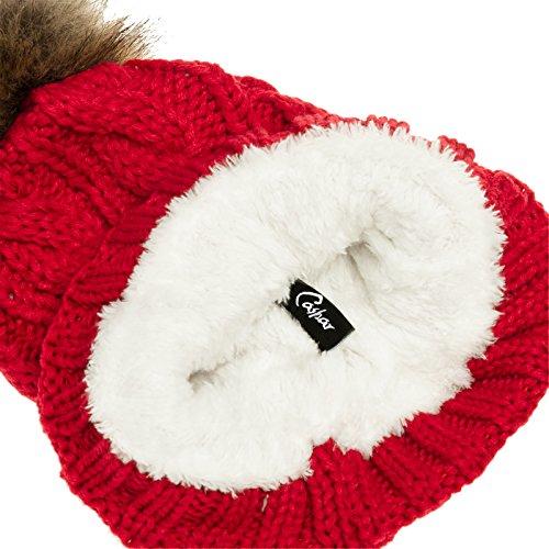 Caspar MU104 - Gorro con forro tejido y borla de pelo para mujer, talla grande Rojo