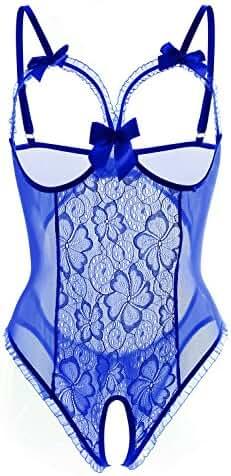 ALLureLove Women's One-piece Teddy Bodysuit Sexy Lingerie Lace Nightie